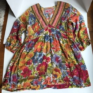 Johnny Was Floral Print and Embroidery Tunic